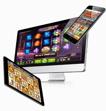 Slots being played on a mobile phone, a tablet and a computer.