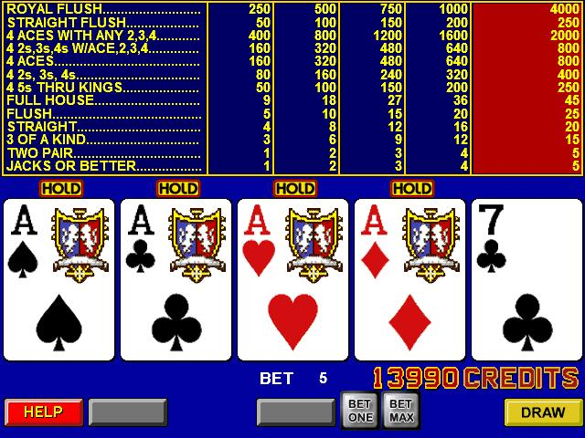 A typical view of a video poker machine